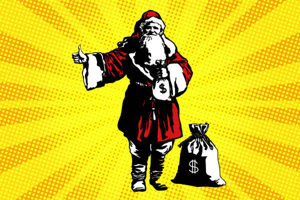 weihnachtsmann mit einer tuete geld
