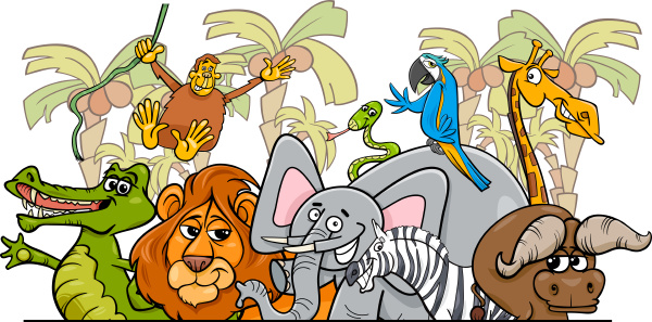 karikatur afrikanische safari wilde tiergruppe