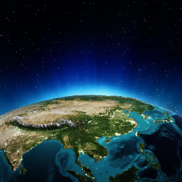 blau einzel berge space grafik asien