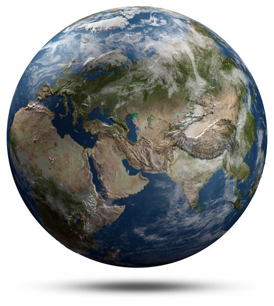 erdkugel eurasia 3d wiedergabe