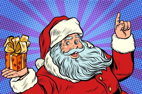 weihnachtsmann mit weihnachtsgeschenkbox