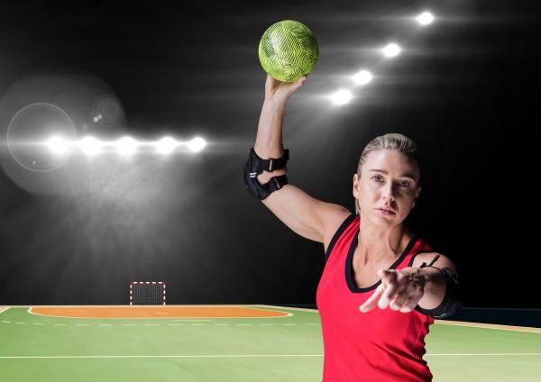 portraet eines weiblichen handballspielers der ball
