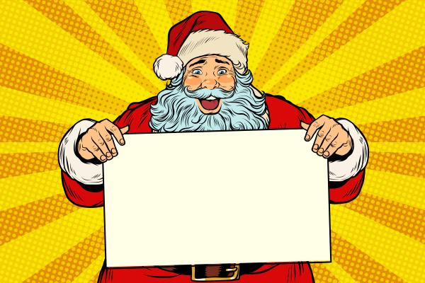froher weihnachtsmann mit plakatschablone