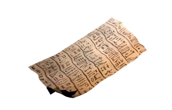 papyrus mit schriftzeichen freigestellt