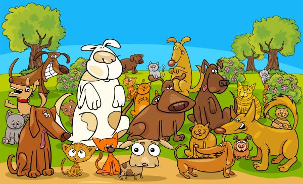 zeichentrickhund und katzen comicfiguren gruppe