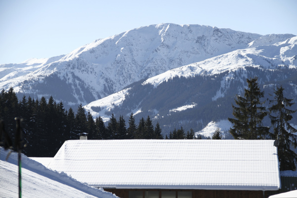 winterlandschaft mit weissem hausdach und schneebedeckte