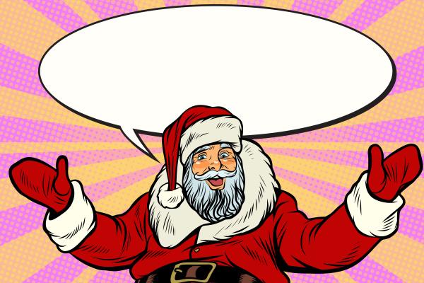 promoter weihnachtsmann mit comic blase