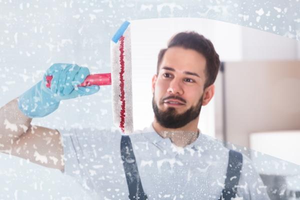 janitor reinigungsfenster mit squeegee