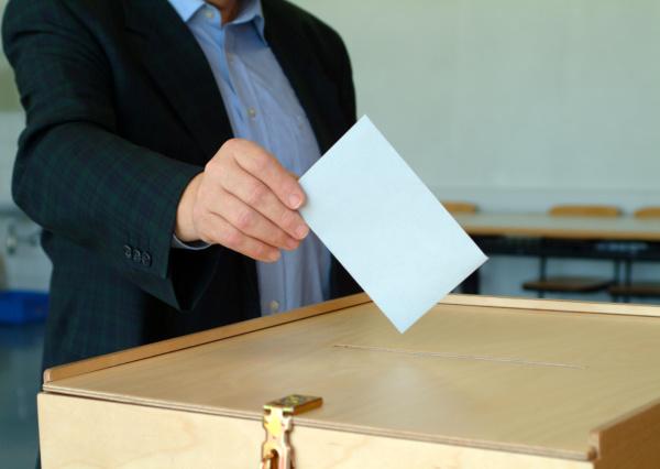 wahler bei der stimmabgabe