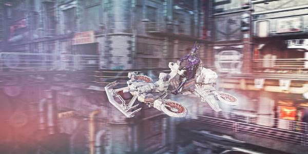 roboter flugfahrzeug in futuristischer stadt