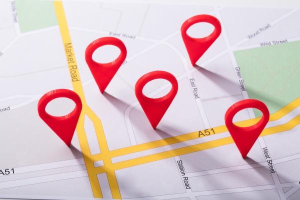 stadtplan mit lagemarkierung