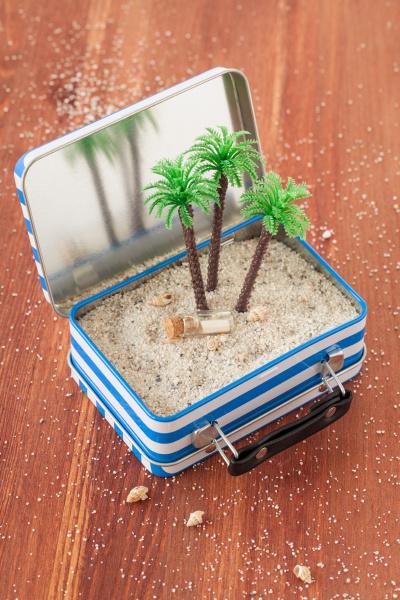 kleiner koffer mit sand und palmen