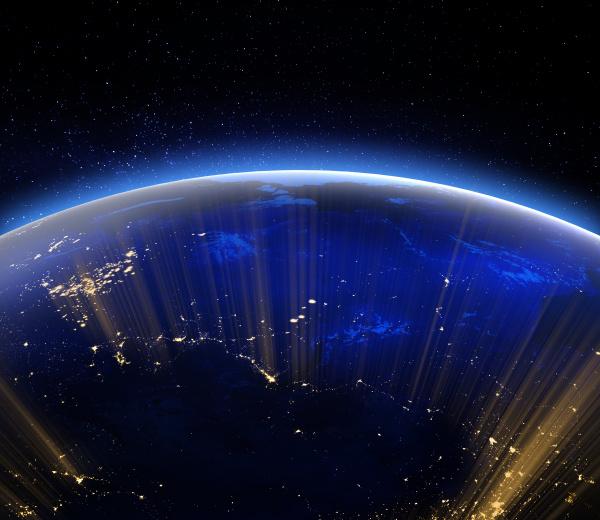 planet erde stadt lichter 3d