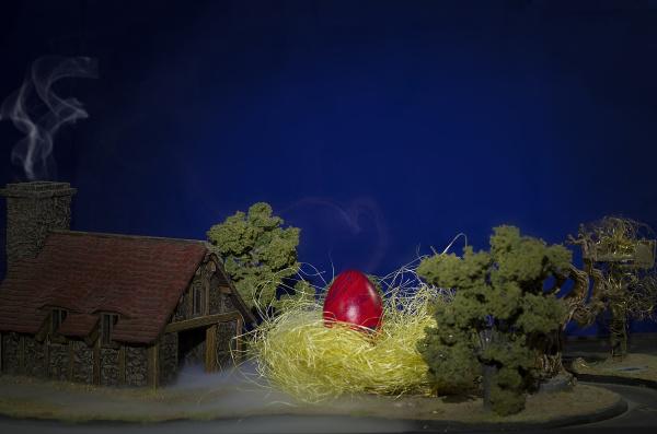 riesiges osterei im nest auf einem