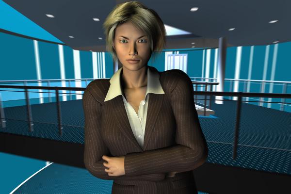 computer-illustration, einer, businessfrau, die, mit, verschrankten - 24415968