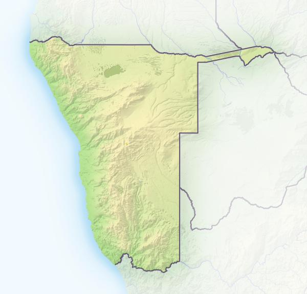 namibia schattierte reliefkarte afrika