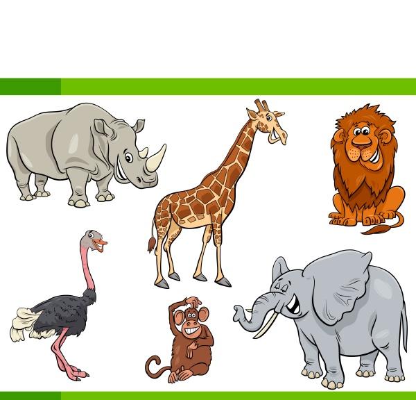 cartoon safari tier zeichen gesetzt