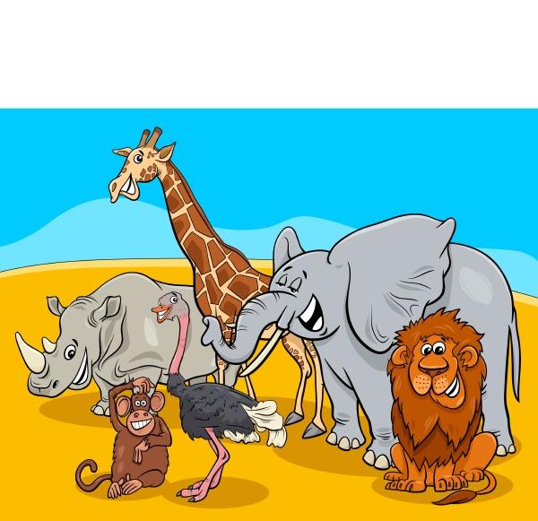 zeichentricksafari tierfiguren gruppe