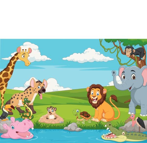 karikatur afrikanischer landschaft mit wilden tieren