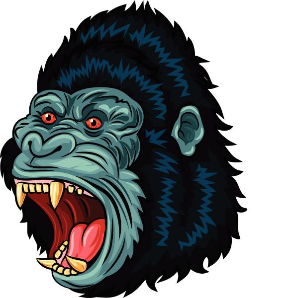 illustration des wuetenden gorilla kopfes isoliert