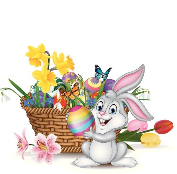 froehlicher osterhintergrund mit kaninchen der ein