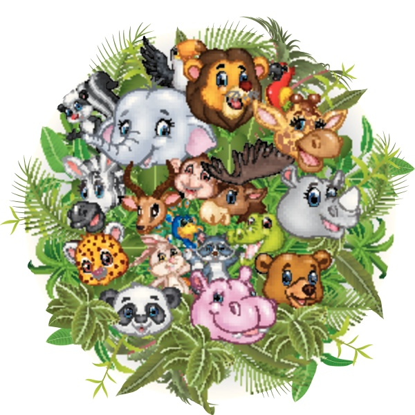 cartoon safari tiere