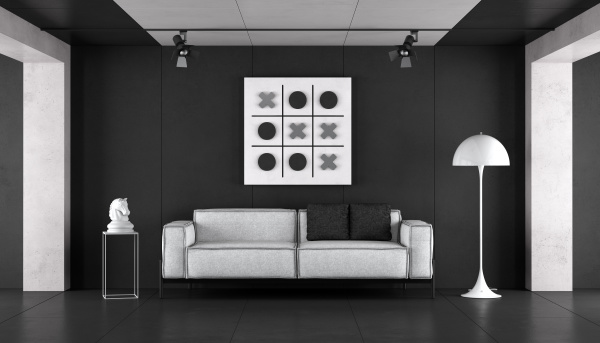 minimalist schwarz weiss wohnzimmer