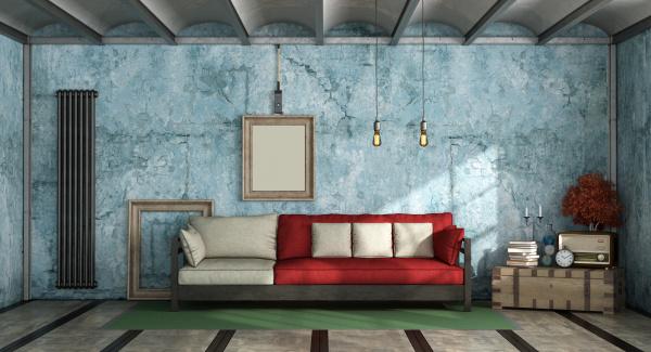 wohnzimmer im industriellen stil