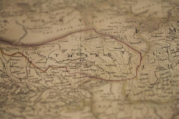 alte karte von tibet asien