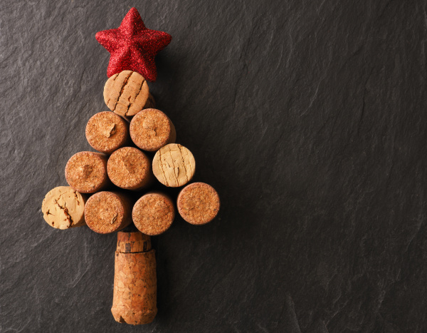 abstract christmas tree of bottle cork