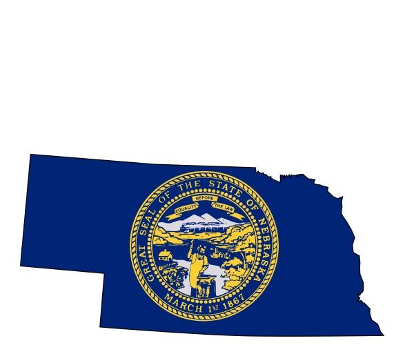 nebraske UEbersichtskarte und flagge
