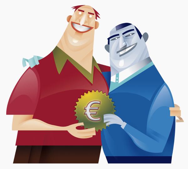 zwei maenner halten zahnrad mit euro