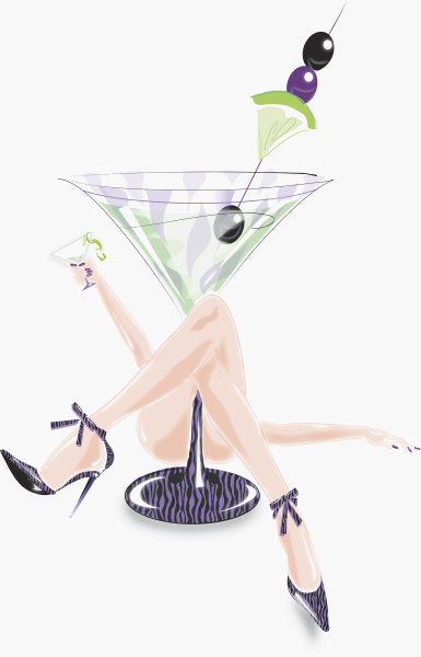 sexy frau legt unter grossem cocktailglas