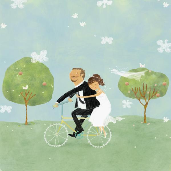 braut und braeutigam auf dem fahrrad