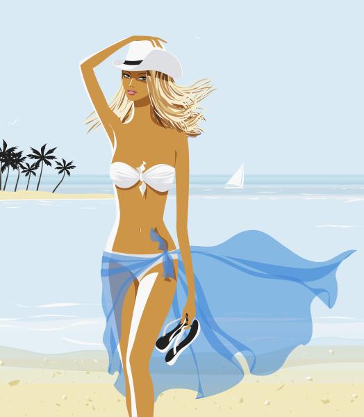 sexy frau im bikini und cowboyhut