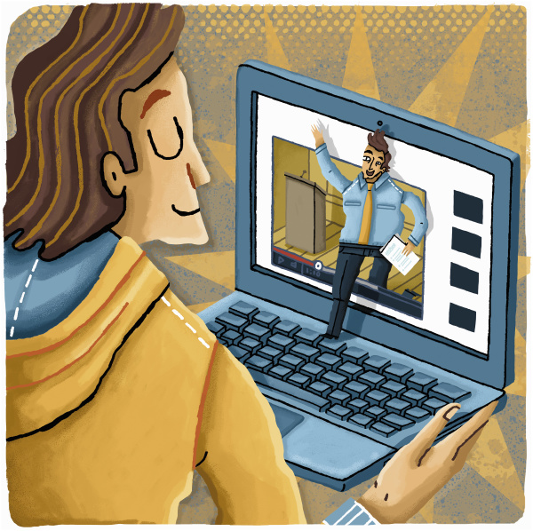 student nutzt laptop fuer e learning