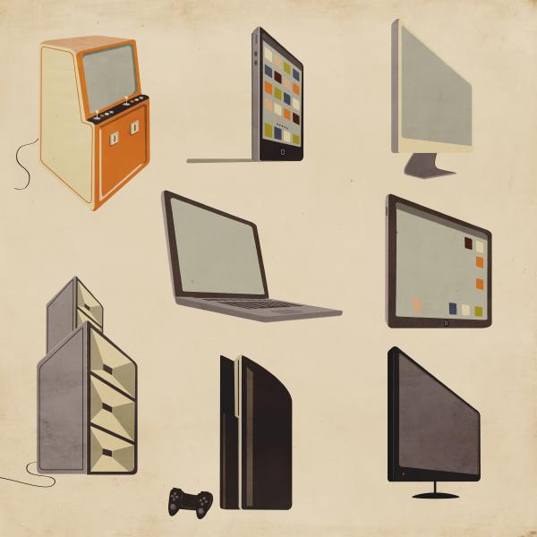 moderne und altmodische computer unterhaltungs