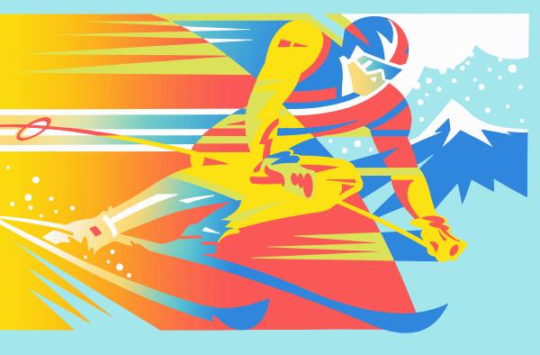 nahe vom menschen skifahren bergab