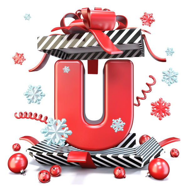 roter buchstabe u in offenen geschenk
