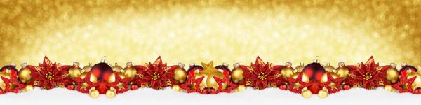 weihnachtsgarland super breites rotes gold panorama