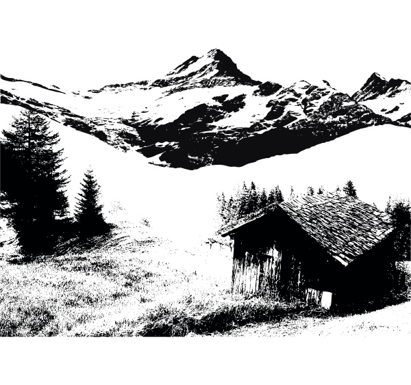 huetten und berglandschaft