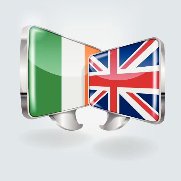 sprachblasen mit irland und england