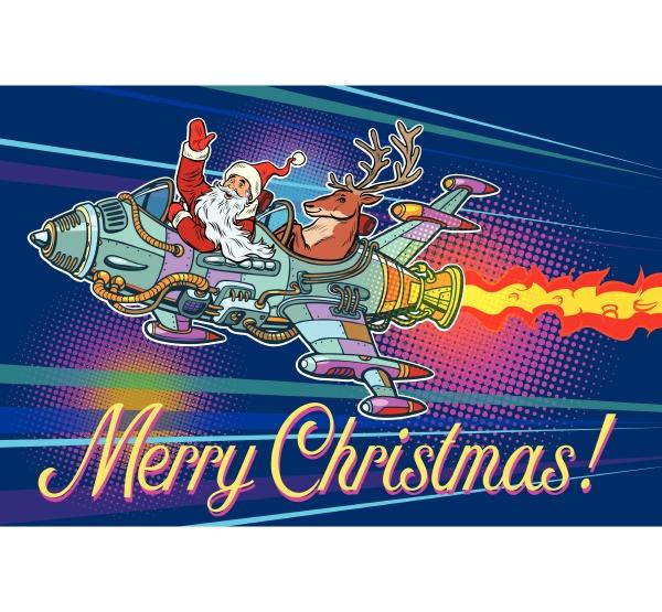 frohe weihnachten retro weihnachtsmann mit einem