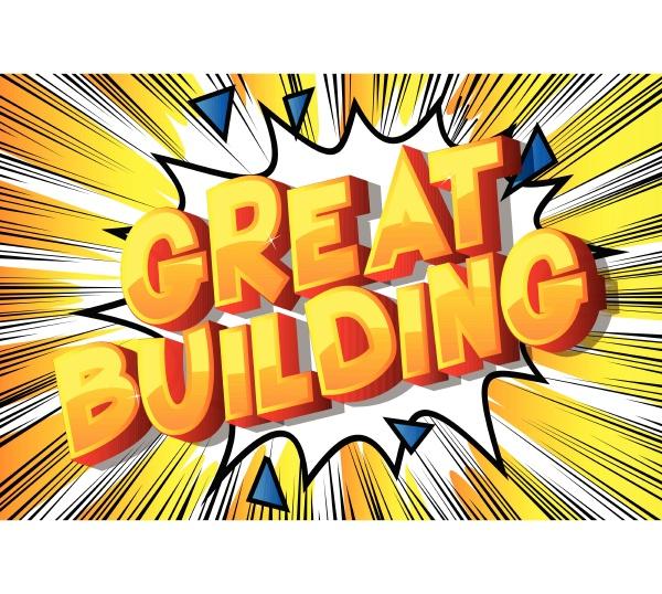 great building comic buch stil woerter