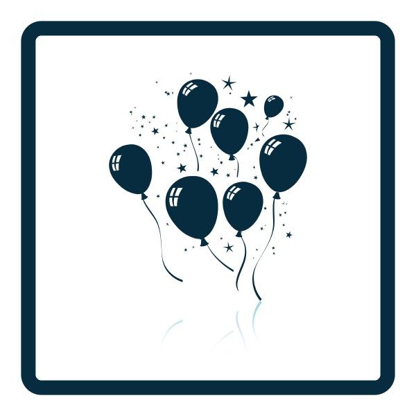 partyballons und sternen ikone schattenreflexgestaltung vector