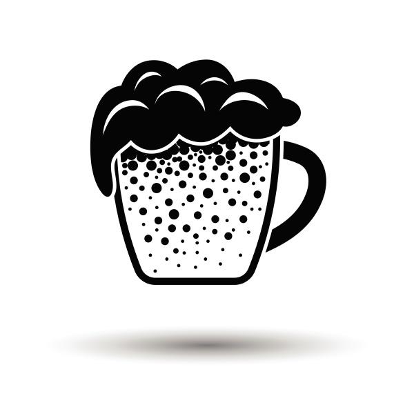 becher bier ikone weisser hintergrund mit