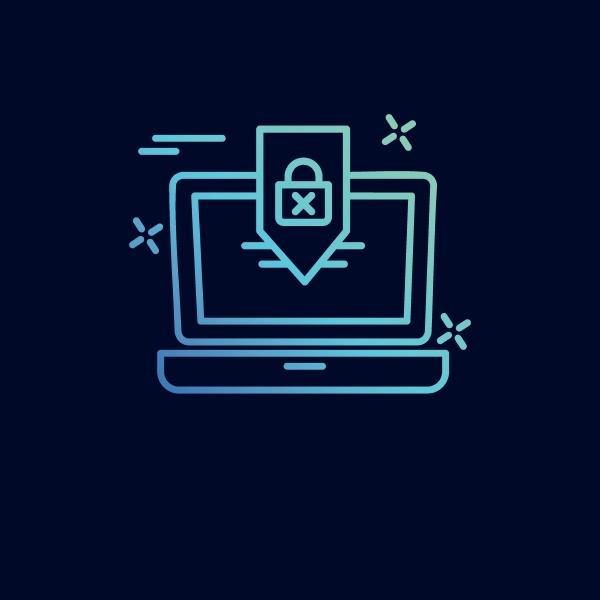 cyber sicherheit neon symbol mit blauem