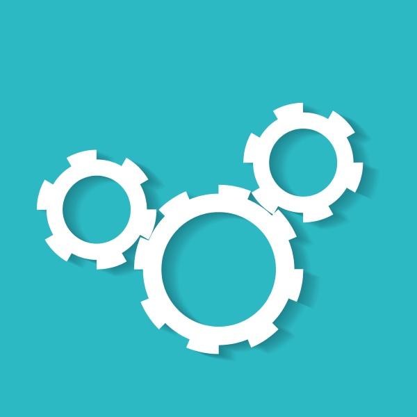 vektorgetriebe einzelobjekt auf blauem hintergrund technische