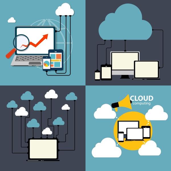 cloud computing konzept auf verschiedenen elektronischen