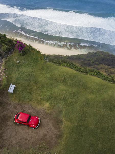 indonesien bali luftaufnahme auf den strand